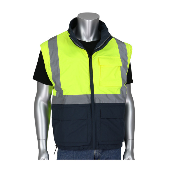 PIP Class 3 Hi Vis Yellow Dark Gray Bottom 4-in-1 Windbreaker 333-1500-R with Sleeve Off