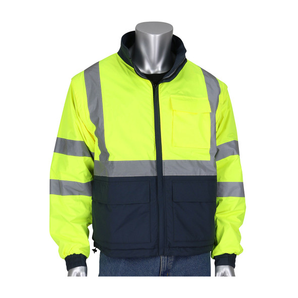 PIP Class 3 Hi Vis Yellow Dark Gray Bottom 4-in-1 Windbreaker 333-1500-R Jacket