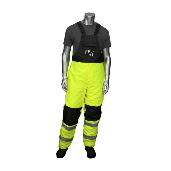 PIP Class E Hi Vis Yellow Insulated Bib Pants with Black Trim 318-1775 Front