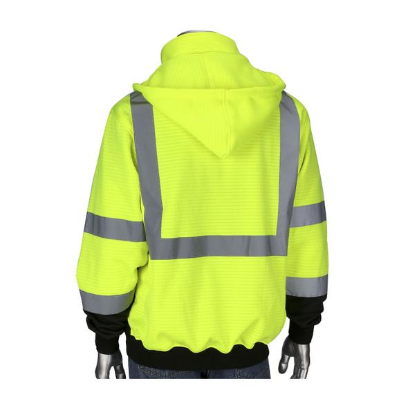 PIP Class 3 Hi Vis Yellow Black Bottom Full Zip Sweatshirt 323-1385B Back