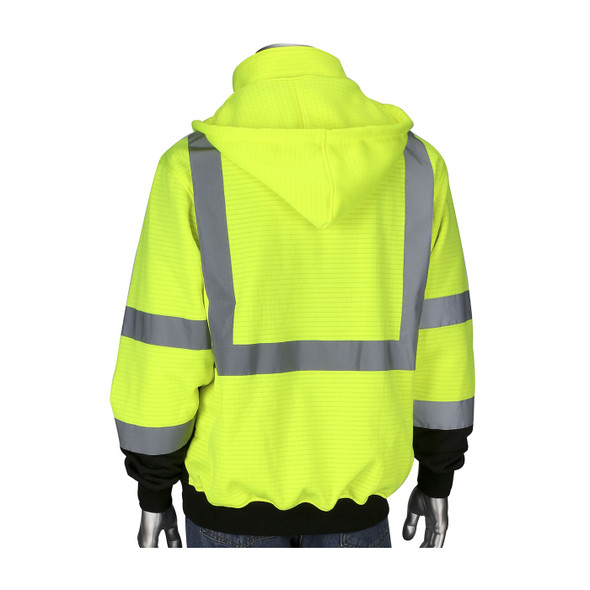 PIP Class 3 Hi Vis Yellow Black Bottom Full Zip Sweatshirt 323-1385B Back
