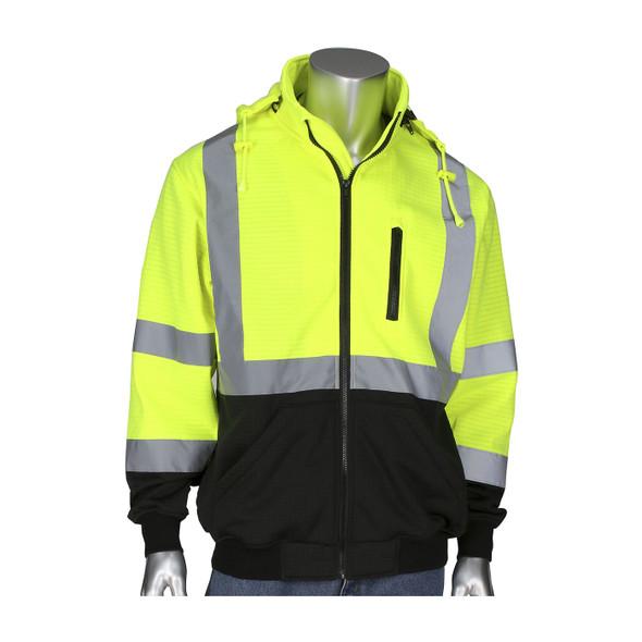 PIP Class 3 Hi Vis Yellow Black Bottom Full Zip Sweatshirt 323-1385B Front