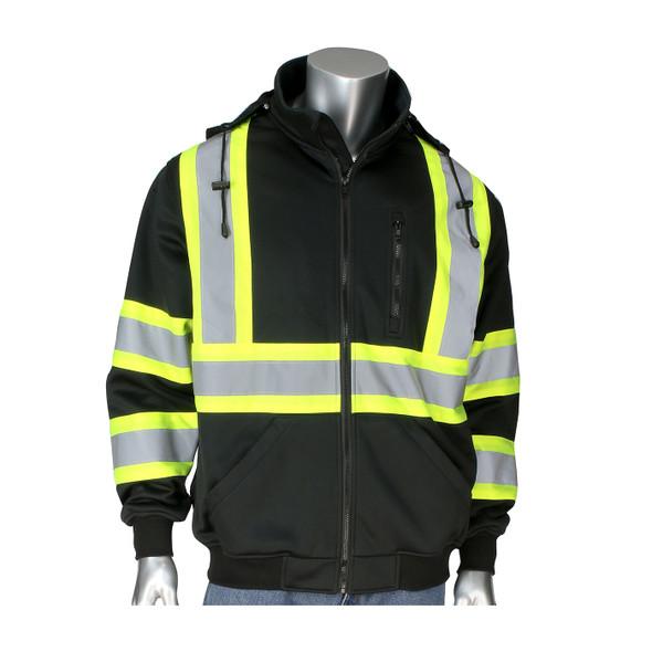 PIP Class 1 Enhanced Visibility Black X-Back Two-Tone Full Zip Fleece Sweatshirt 323-1475X-BK Front