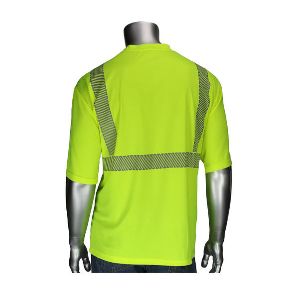 PIP Class 2 Hi Vis Yellow Black Bottom Moisture Wicking T-Shirt with Segmented Tape 312-1275B Back