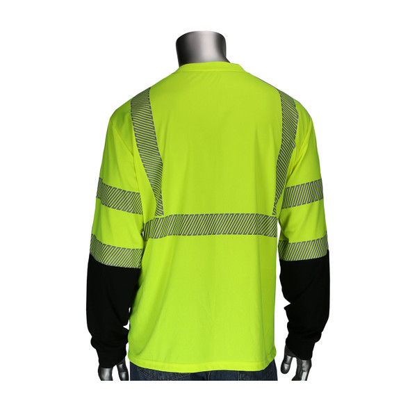PIP Class 3 Hi Vis Yellow Black Bottom Long Sleeve T-Shirt with Segmented Tape 313-1280B Back