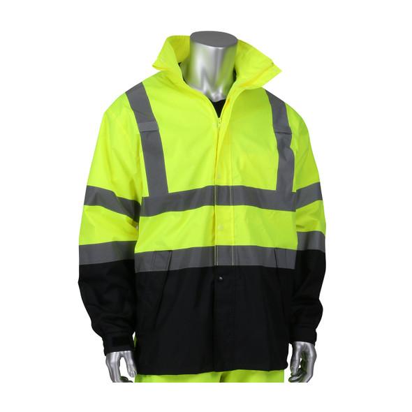 PIP Class 3 Hi Vis Ripstop Black Bottom Rain Jacket 353-1200 Yellow