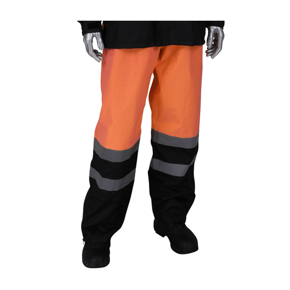 PIP Class E Hi Vis Ripstop Black Bottom Rain Pants 353-1202 Orange