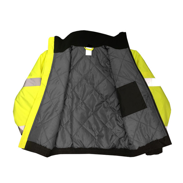 Radians Class 3 Hi Vis Black Bottom Quilted Bomber Jacket SJ11QB Green Inside