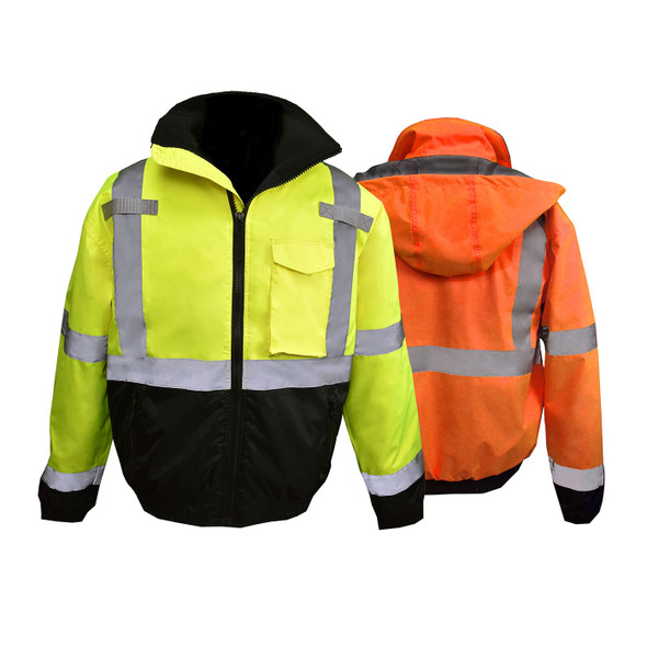 Radians Class 3 Hi Vis Black Bottom Quilted Bomber Jacket SJ11QB Combo