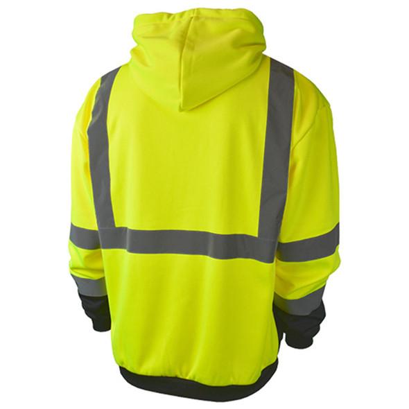 Radians Class 3 Hi Vis Black Bottom Hooded Sweatshirt with Zipper SJ01B-3PGS Green Back