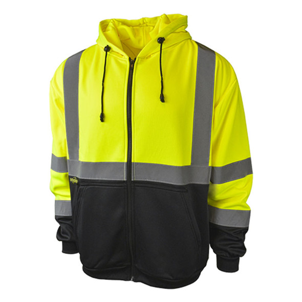 Radians Class 3 Hi Vis Black Bottom Hooded Sweatshirt with Zipper SJ01B-3PGS Green Front