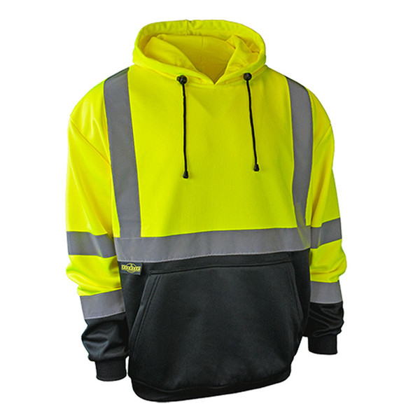 Radians Class 3 Hi Vis Green Black Bottom Hooded Pullover Sweatshirt SJ02B-3PGS Front