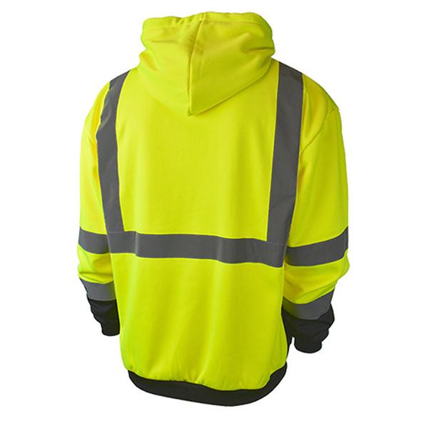 Radians Class 3 Hi Vis Green Black Bottom Hooded Pullover Sweatshirt SJ02B-3PGS Back