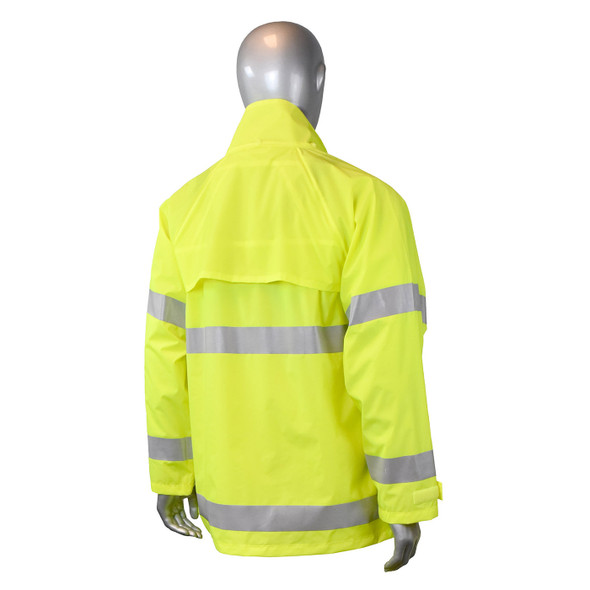 Radians Class 3 Hi Vis Green Rain Jacket RW25J-3ZGV Back with Hood Down