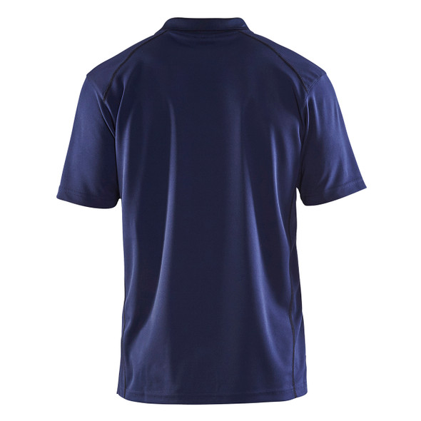 Blaklader Moisture Wicking Short Sleeve Navy Blue Polo Shirt with UPF 40 Protection 345110518900 Back