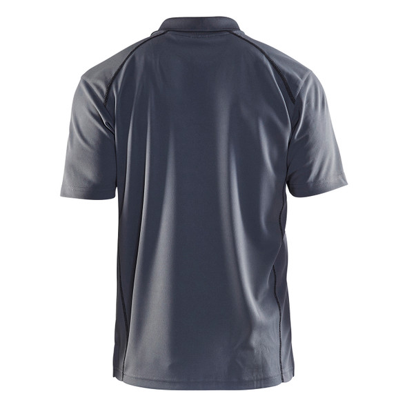 Blaklader Moisture Wicking Short Sleeve Grey Polo Shirt with UPF 40 Protection 345110519400 Back