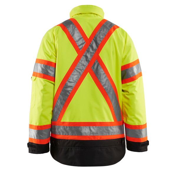 Blaklader Class 3 Hi Vis Two-Tone X-Back Yellow Black Bottom Winter Jacket 492819773399 Back