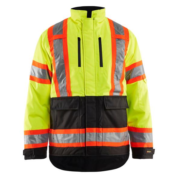 Blaklader Class 3 Hi Vis Two-Tone X-Back Yellow Black Bottom Winter Jacket 492819773399 Front