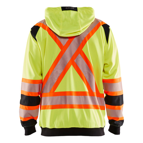 Blaklader Class 3 Hi Vis Yellow X-Back Black Trim Zip-Up Hooded Sweatshirt 344819743399 Back