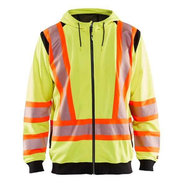 Blaklader Class 3 Hi Vis Yellow X-Back Black Trim Zip-Up Hooded Sweatshirt 344819743399 Front