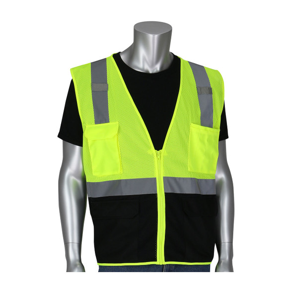 PIP Class 2 Hi Vis Black Bottom Mesh Safety Vest 302-0710B Lime