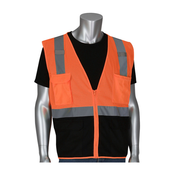 PIP Class 2 Hi Vis Black Bottom Mesh Safety Vest 302-0710B Orange