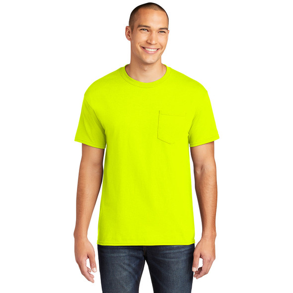 Gildan Enhanced Visibility Safety Green Cotton Polyester Pocket T-Shirt 5300