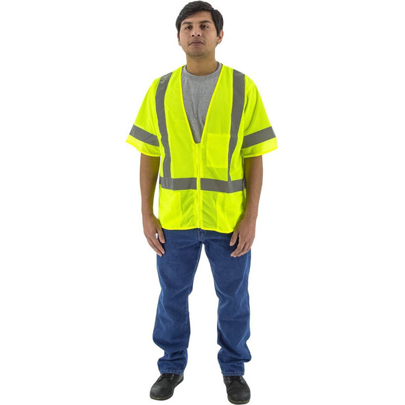 Majestic Class 3 Hi Vis Yellow Mesh Safety Vest 75-3313