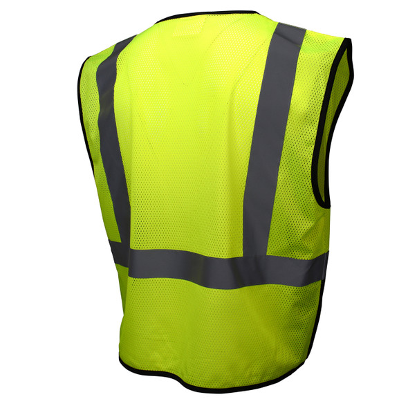 Radians Class 2 Hi Vis Green Black Bottom Economy Mesh Safety Vest SV3B-2ZGM Back