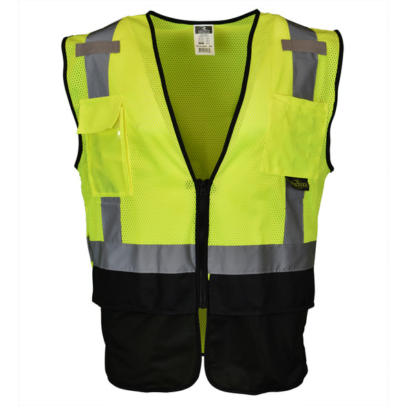 Radians Class 2 Hi Vis Green Black Bottom Mesh Surveyor Safety Vest SV7B-2ZGM Front