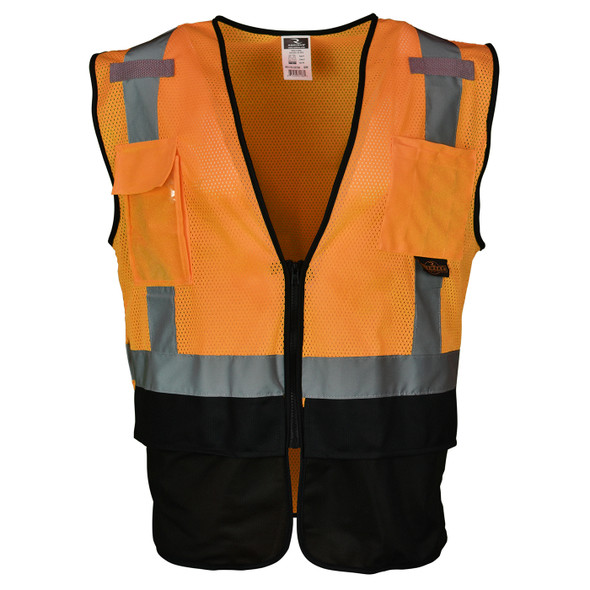 Radians Class 2 Hi Vis Orange Black Bottom Mesh Surveyor Safety Vest SV7B-2ZOM Front