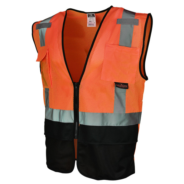 Radians Class 2 Hi Vis Orange Black Bottom Mesh Surveyor Safety Vest SV7B-2ZOM Side Profile