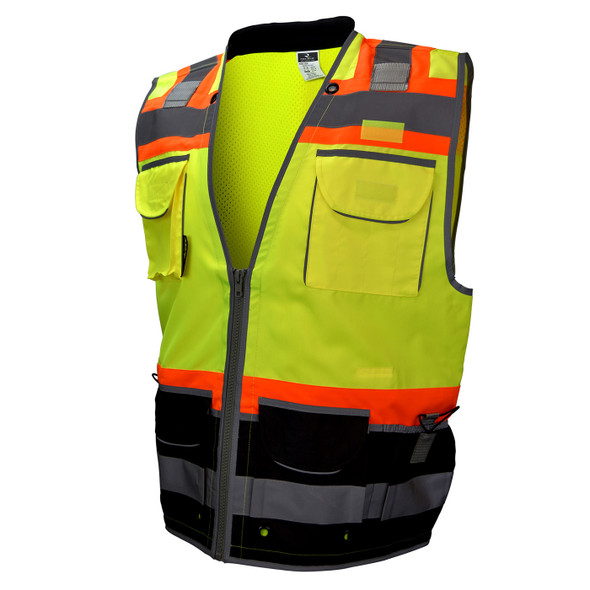 Radians Class 2 Hi Vis Green Black Bottom Two-Tone Heavy Woven Engineer Vest SV55B-2ZGD Front