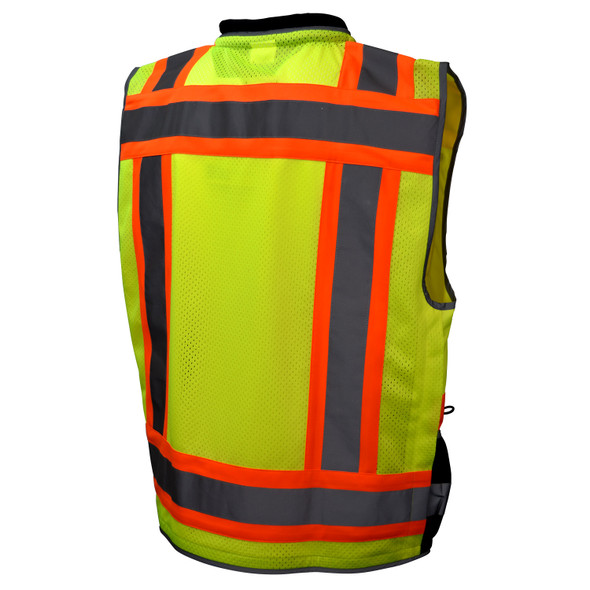 Radians Class 2 Hi Vis Green Black Bottom Two-Tone Heavy Woven Engineer Vest SV55B-2ZGD Back