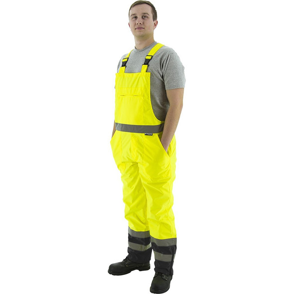 Majestic Class E Hi Vis Yellow Black Bottom Waterpoof Bib Overalls 75-2355