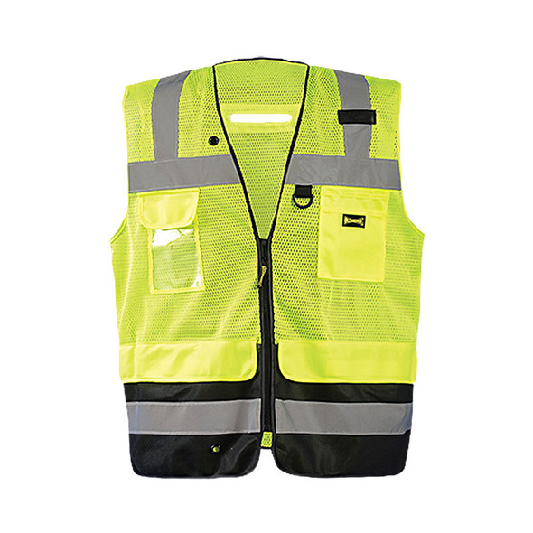 Occunomix Class 2 Hi Vis Black Bottom Mesh Surveyor Vest LUX-LTGCSBK Yellow Front