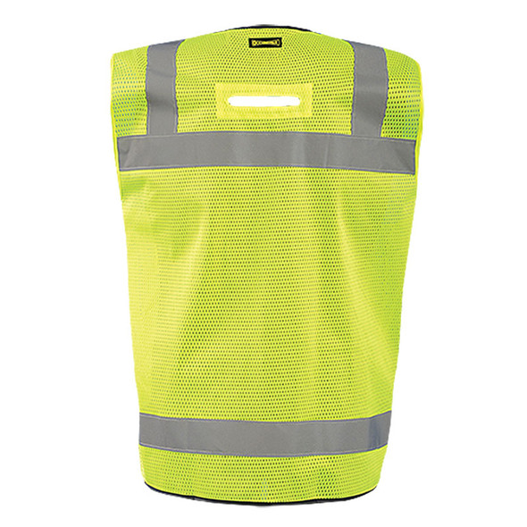 Occunomix Class 2 Hi Vis Black Bottom Mesh Surveyor Vest LUX-LTGCSBK Yellow Back