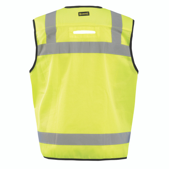 Occunomix Class 2 Hi Vis Yellow Black Bottom Heavy Duty Surveyor Vest LUX-HDSBK Back