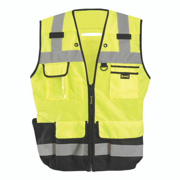 Occunomix Class 2 Hi Vis Yellow Black Bottom Heavy Duty Surveyor Vest LUX-HDSBK Front