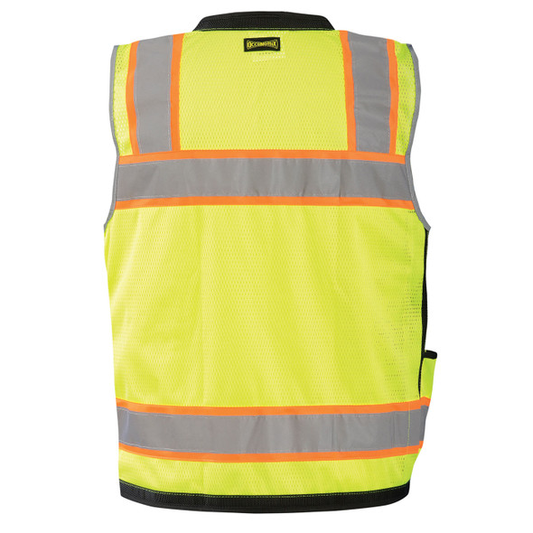 Occunomix Class 2 Hi Vis Yellow Two-Tone Heavy Duty Surveyor Vest with Black Trim LUX-HDS2T Back