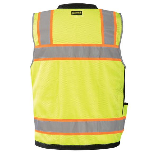 Occunomix Class 2 Hi Vis Yellow Two-Tone Heavy Duty Surveyor Vest with Black Trim LUX-HDS2T Back