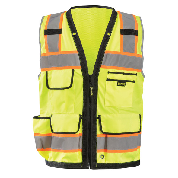 Occunomix Class 2 Hi Vis Yellow Two-Tone Heavy Duty Surveyor Vest with Black Trim LUX-HDS2T Front