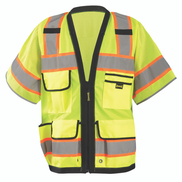 Occunomix Class 3 Hi Vis Yellow Two-Tone Heavy Duty Surveyor Vest with Black Trim LUX-HDS2T3 Front