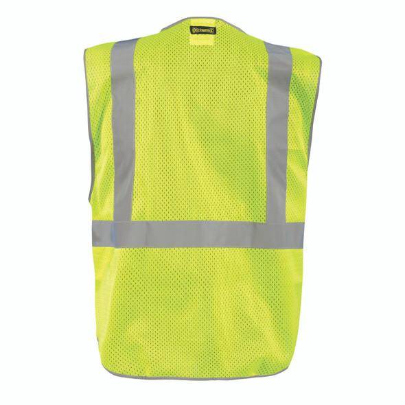 Occunomix Non-ANSI Hi Vis Black Bottom 5-Point Breakaway Mesh Vest LUX-GCBBK Back