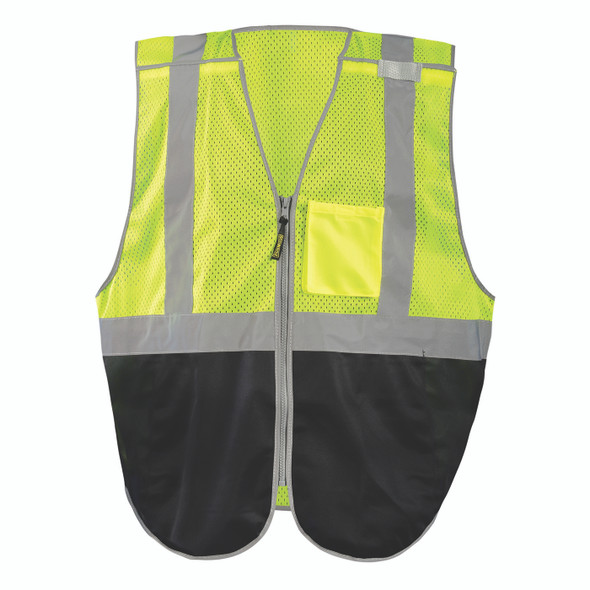 Occunomix Non-ANSI Hi Vis Black Bottom 5-Point Breakaway Mesh Vest LUX-GCBBK Front