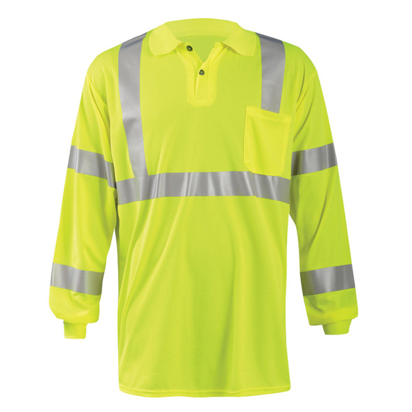 Occunomix Class 3 Hi Vis Moisture Wicking Long Sleeve Polo with Pocket LUX-LSPP3B Yellow Front