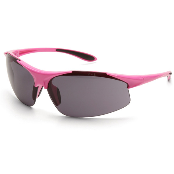 Girl Power at Work Box of 12 Pink Frame Gray Anti-Fog Lens Ladies Safety Glasses 18621