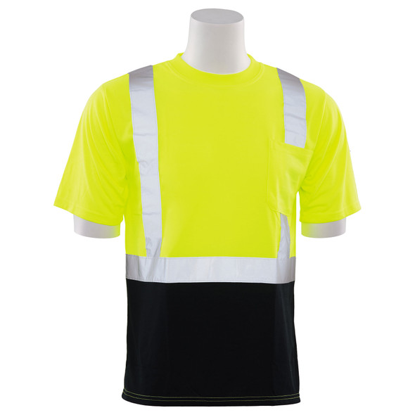 ERB Class 2 Hi Vis Lime Black Bottom T-Shirt 9601SB-L Front