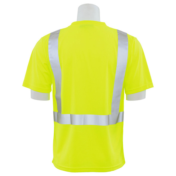 ERB Class 2 Hi Vis Lime Moisture Wicking T-Shirt 9006S-L Back