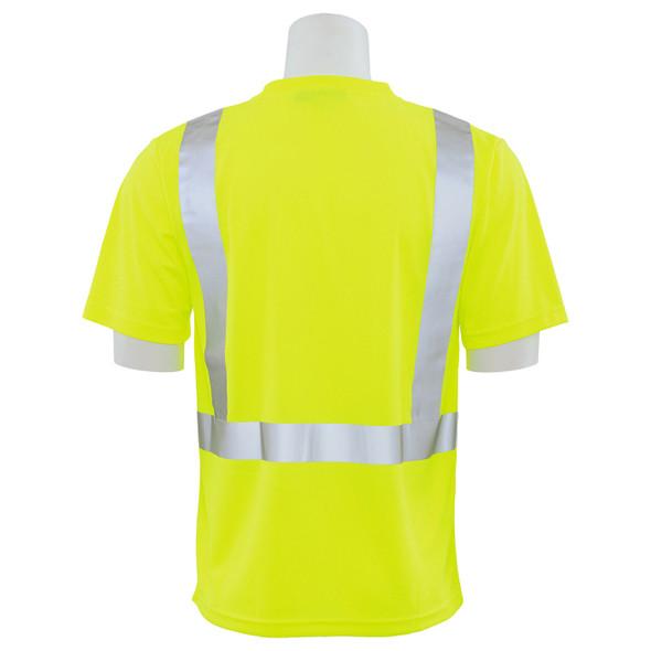 ERB Class 2 Hi Vis Lime Moisture Wicking T-Shirt 9006S-L Back